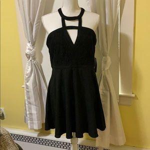 Black strappy mini dress with lace & cutouts NWT